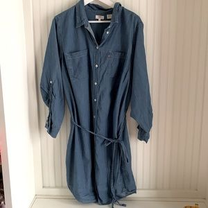 Levi's Cotton Denim Button Deess with Tie Waist and Roll up able Sleeves